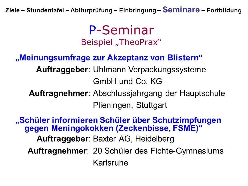 """P-Seminar Beispiel """"TheoPrax"""" """"Meinungsumfrage zur Akzeptanz von Blistern"""" Auftraggeber:Uhlmann Verpackungssysteme GmbH und Co. KG Auftragnehmer:Absch"""