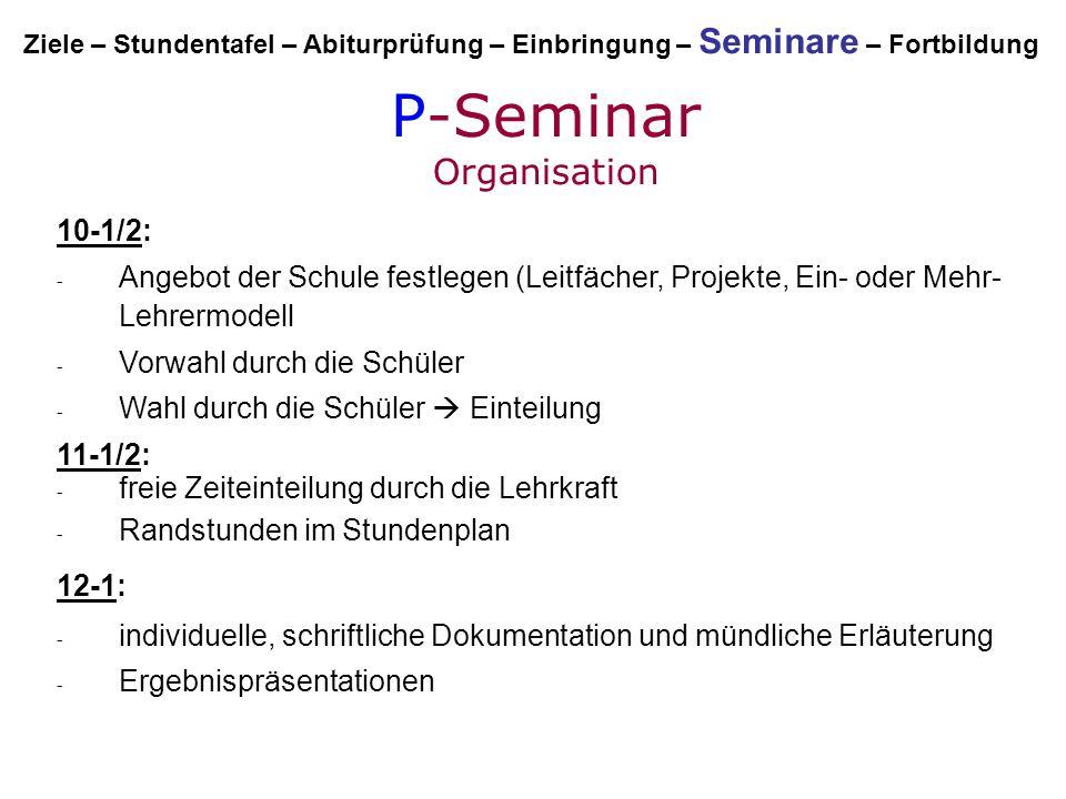 P-Seminar Organisation 10-1/2: - Angebot der Schule festlegen (Leitfächer, Projekte, Ein- oder Mehr- Lehrermodell - Vorwahl durch die Schüler - Wahl d