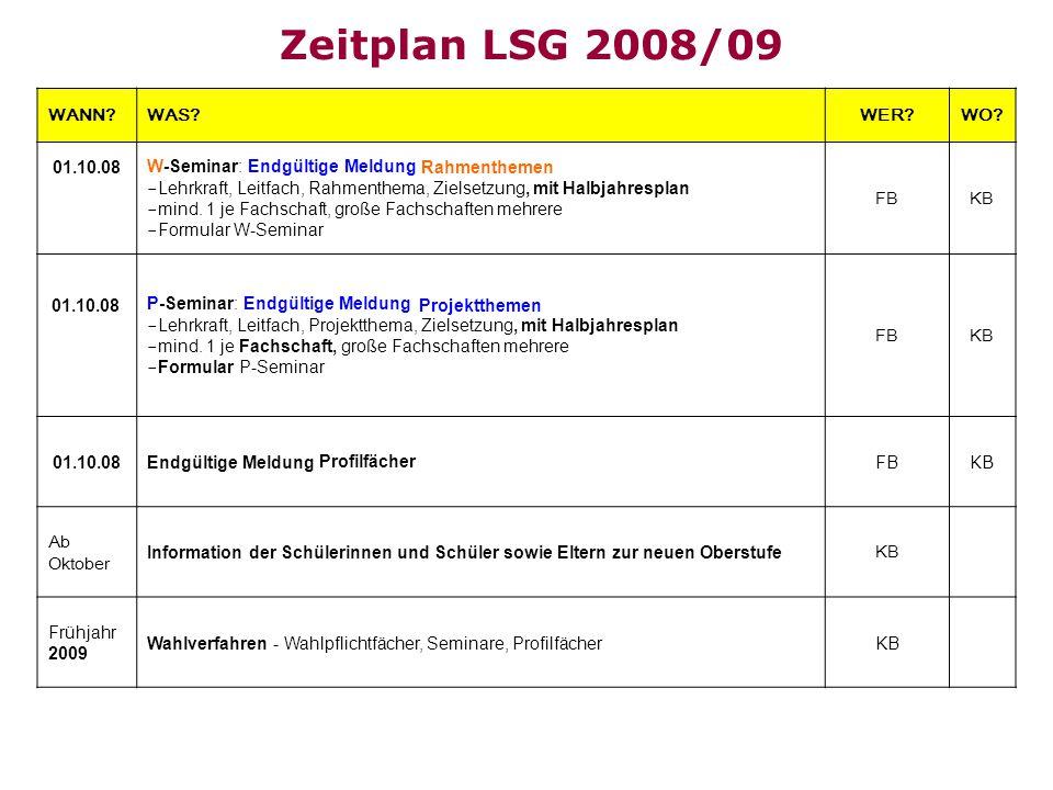 Zeitplan LSG 2008/09 WANN?WAS?WER?WO? W-Seminar: Endgültige Meldung - Lehrkraft, Leitfach, Rahmenthema, Zielsetzung, mit Halbjahresplan - mind. 1 je F