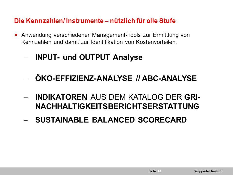 SeiteWuppertal Institut Die Kennzahlen/ Instrumente – nützlich für alle Stufe  Anwendung verschiedener Management-Tools zur Ermittlung von Kennzahlen und damit zur Identifikation von Kostenvorteilen.