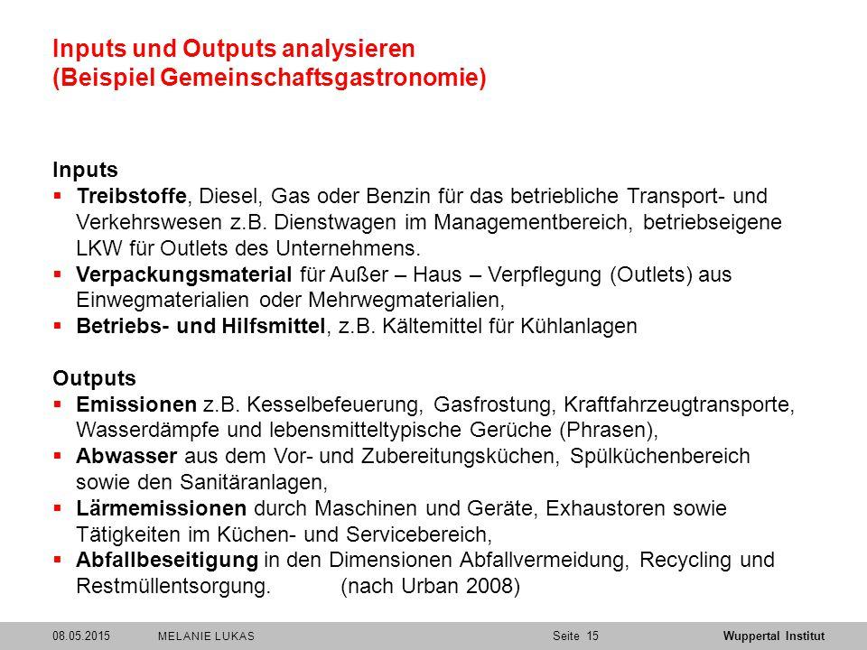 SeiteWuppertal Institut Inputs und Outputs analysieren (Beispiel Gemeinschaftsgastronomie) Inputs  Treibstoffe, Diesel, Gas oder Benzin für das betriebliche Transport- und Verkehrswesen z.B.
