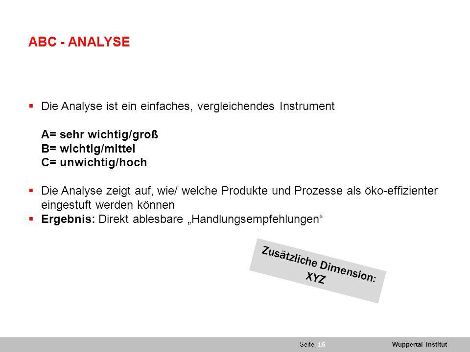 """SeiteWuppertal Institut ABC - ANALYSE  Die Analyse ist ein einfaches, vergleichendes Instrument A= sehr wichtig/groß B= wichtig/mittel C= unwichtig/hoch  Die Analyse zeigt auf, wie/ welche Produkte und Prozesse als öko-effizienter eingestuft werden können  Ergebnis: Direkt ablesbare """"Handlungsempfehlungen 08.05.2015 MELANIE LUKAS 16 Zusätzliche Dimension: XYZ"""
