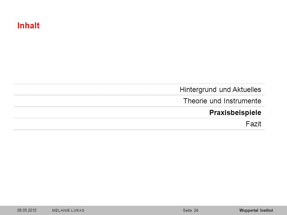 SeiteWuppertal Institut Inhalt Hintergrund und Aktuelles Theorie und Instrumente Praxisbeispiele Fazit 2408.05.2015 MELANIE LUKAS
