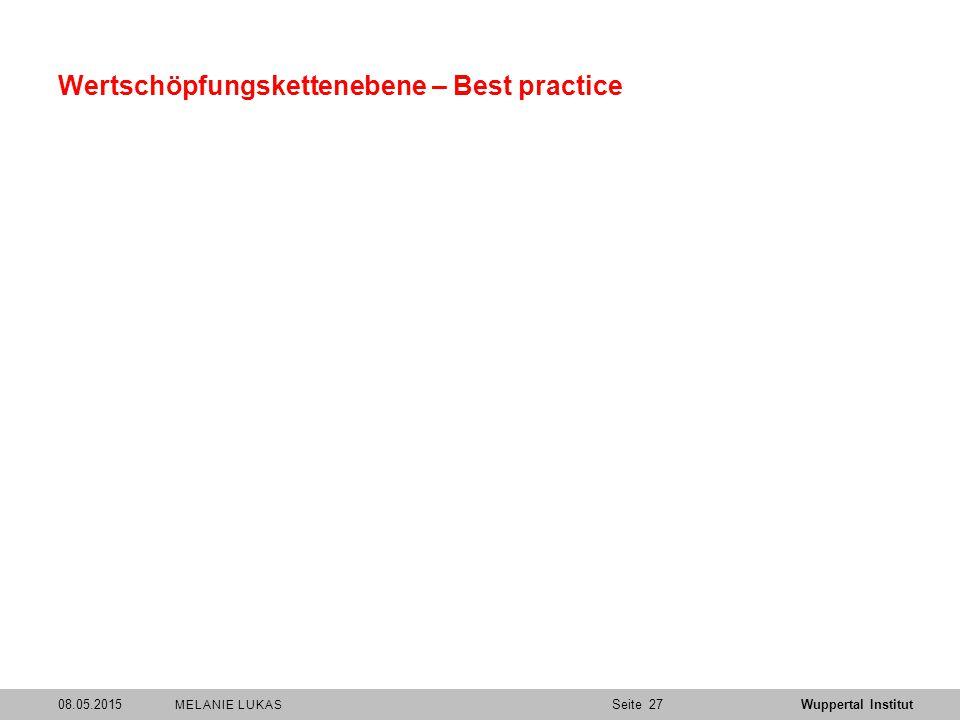 SeiteWuppertal Institut Wertschöpfungskettenebene – Best practice 08.05.201527 MELANIE LUKAS