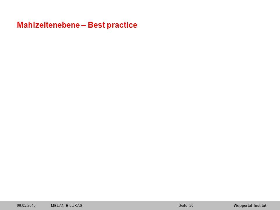 SeiteWuppertal Institut Mahlzeitenebene – Best practice 08.05.201530 MELANIE LUKAS
