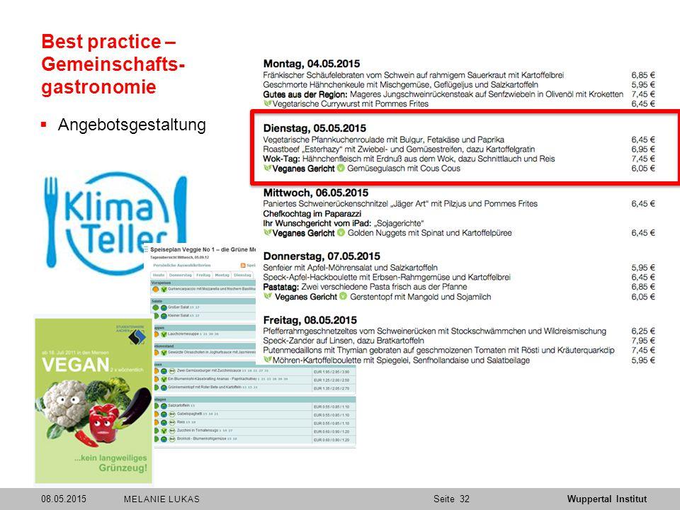 SeiteWuppertal Institut Best practice – Gemeinschafts- gastronomie  Angebotsgestaltung 08.05.201532 MELANIE LUKAS