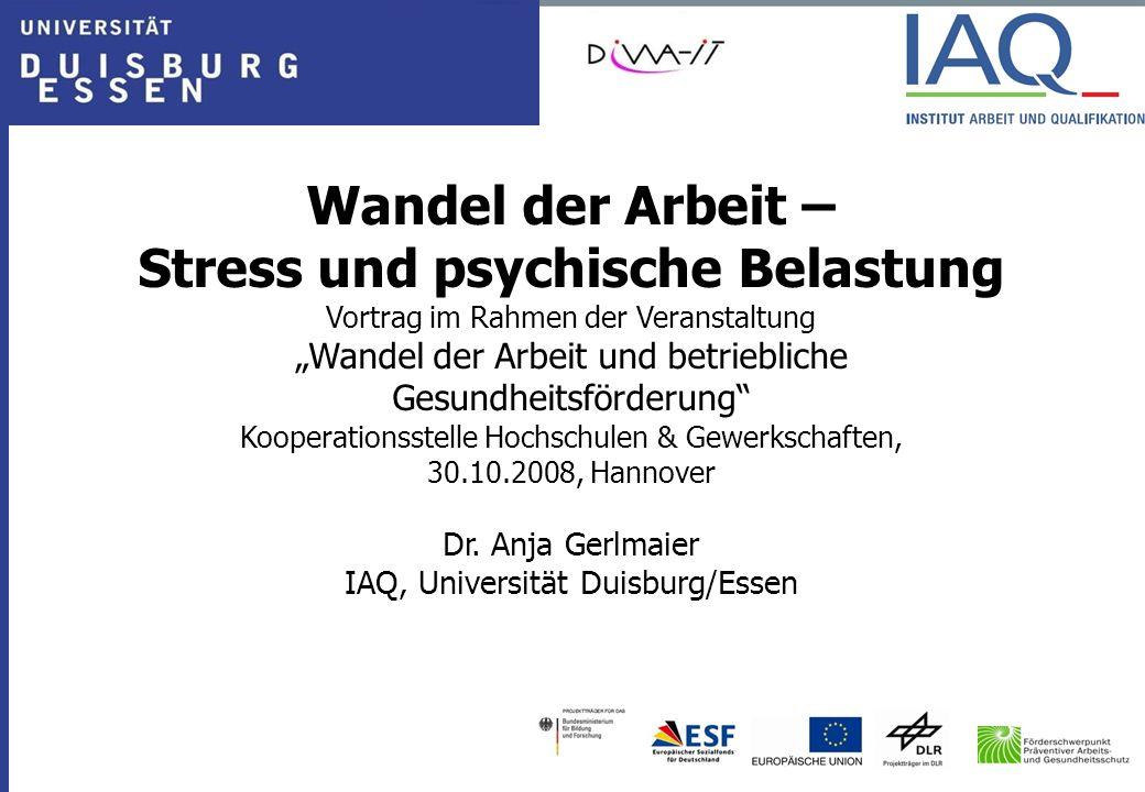 """Wandel der Arbeit – Stress und psychische Belastung Vortrag im Rahmen der Veranstaltung """"Wandel der Arbeit und betriebliche Gesundheitsförderung"""" Koop"""