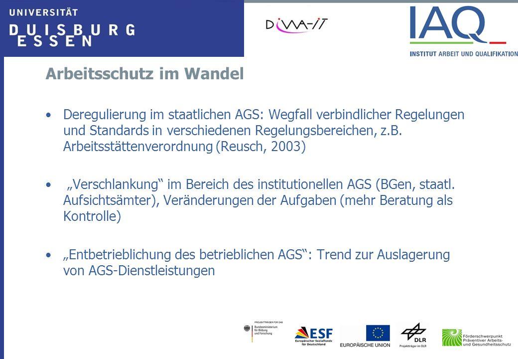 Arbeitsschutz im Wandel Deregulierung im staatlichen AGS: Wegfall verbindlicher Regelungen und Standards in verschiedenen Regelungsbereichen, z.B. Arb