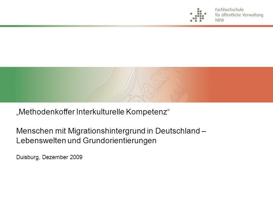 Menschen mit Migrationshintergrund in Deutschland Lebenswelten und Grundorientierungen Methodenkoffer Interkulturelle Kompetenz, Dezember 2009 32 Multikulturelles Performermilieu Junges, flexibles und leistungsorientiertes Milieu mit bi- bzw.