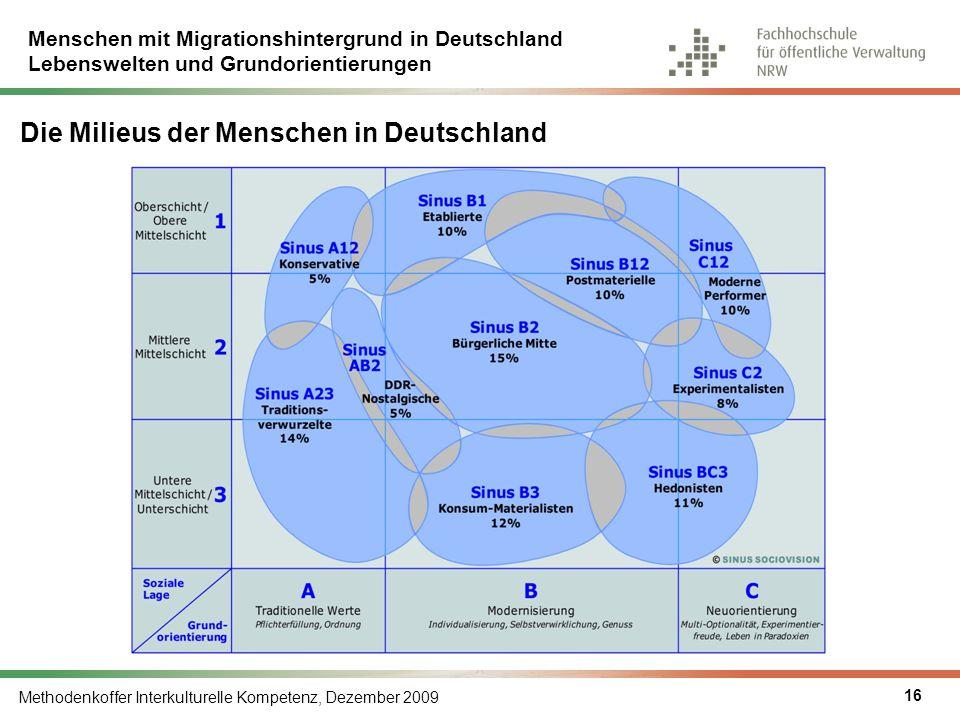Menschen mit Migrationshintergrund in Deutschland Lebenswelten und Grundorientierungen Methodenkoffer Interkulturelle Kompetenz, Dezember 2009 16 Die