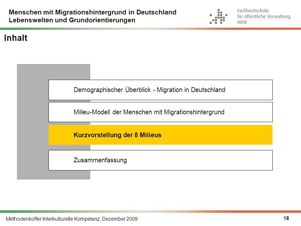 Menschen mit Migrationshintergrund in Deutschland Lebenswelten und Grundorientierungen Methodenkoffer Interkulturelle Kompetenz, Dezember 2009 18 Inha