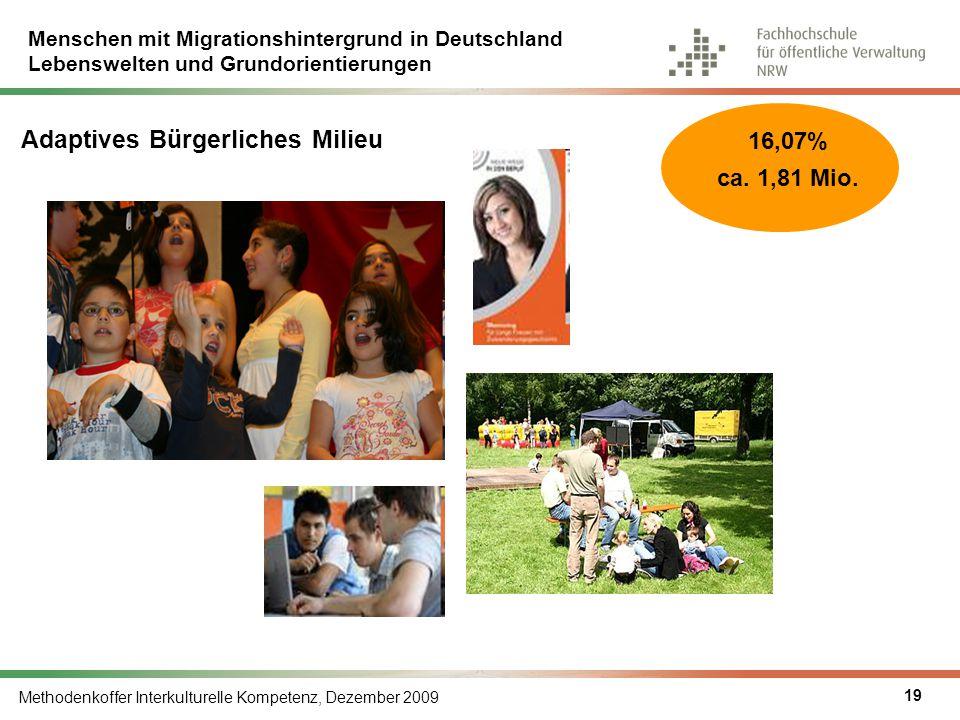 Menschen mit Migrationshintergrund in Deutschland Lebenswelten und Grundorientierungen Methodenkoffer Interkulturelle Kompetenz, Dezember 2009 19 Adap