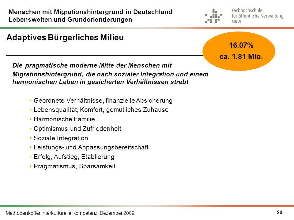 Menschen mit Migrationshintergrund in Deutschland Lebenswelten und Grundorientierungen Methodenkoffer Interkulturelle Kompetenz, Dezember 2009 20 Adap
