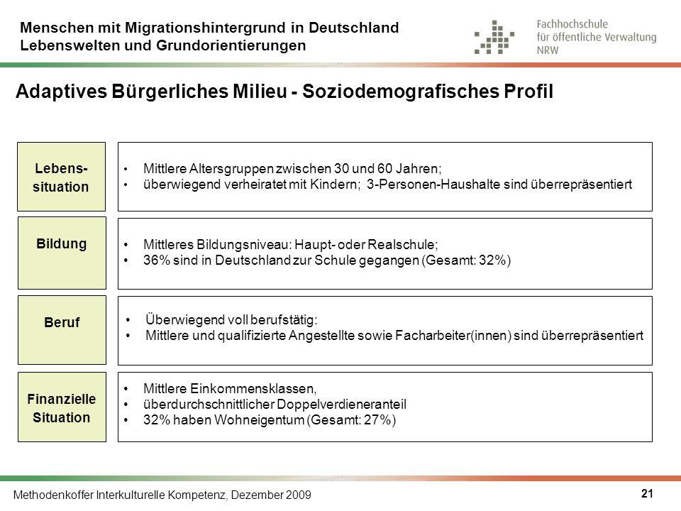 Menschen mit Migrationshintergrund in Deutschland Lebenswelten und Grundorientierungen Methodenkoffer Interkulturelle Kompetenz, Dezember 2009 21 Mitt