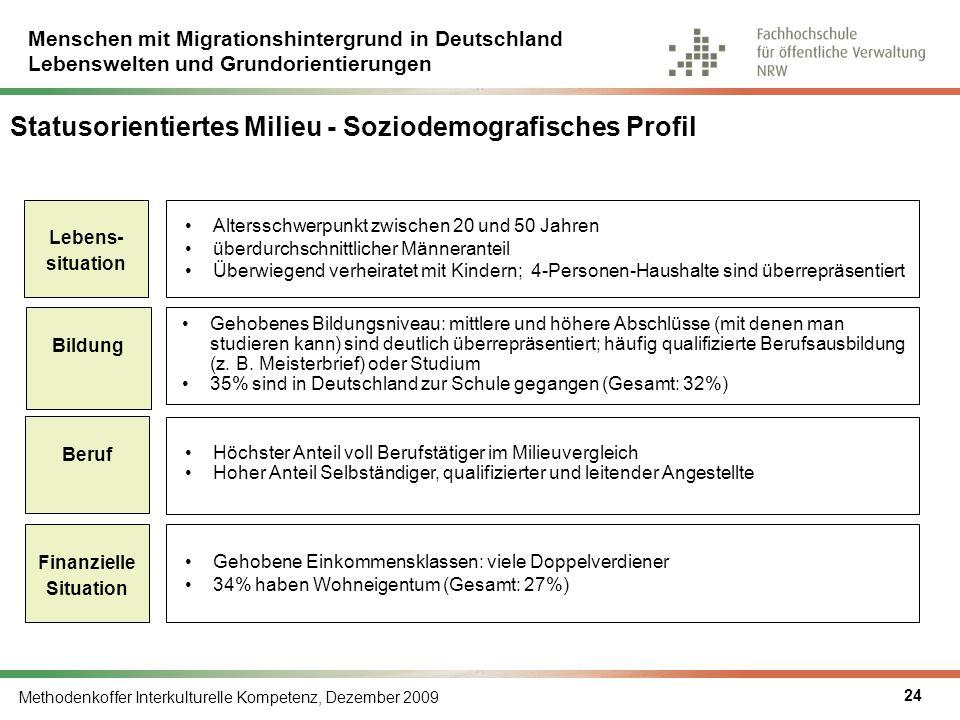 Menschen mit Migrationshintergrund in Deutschland Lebenswelten und Grundorientierungen Methodenkoffer Interkulturelle Kompetenz, Dezember 2009 24 Stat