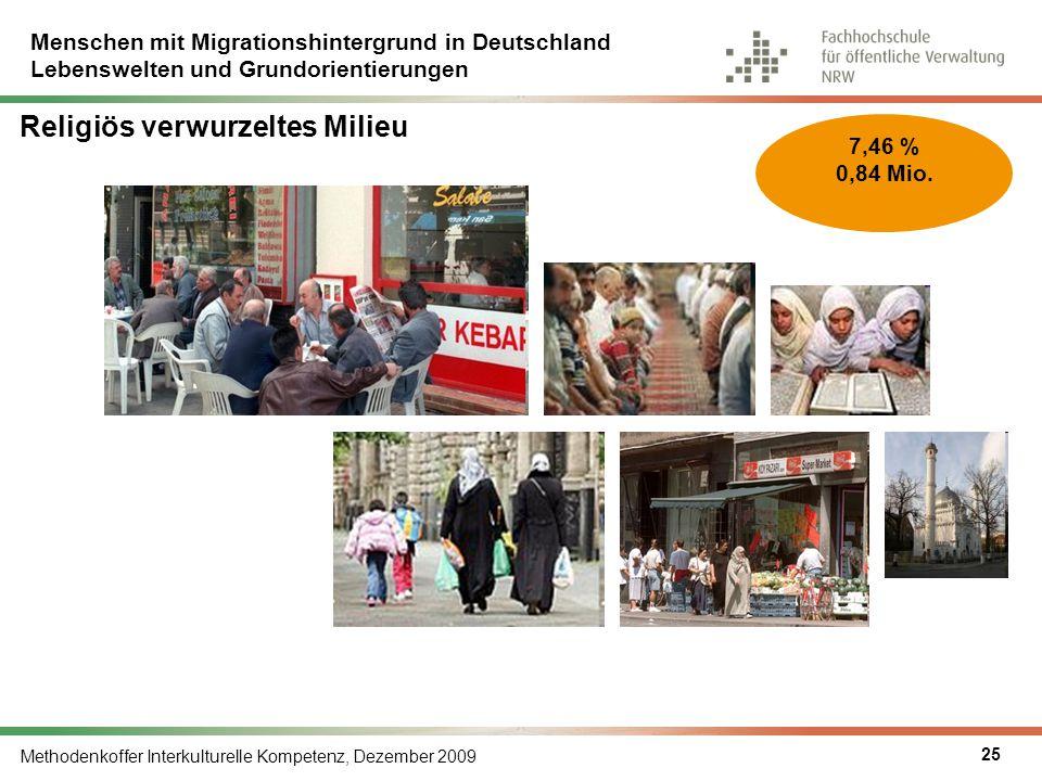 Menschen mit Migrationshintergrund in Deutschland Lebenswelten und Grundorientierungen Methodenkoffer Interkulturelle Kompetenz, Dezember 2009 25 7,46