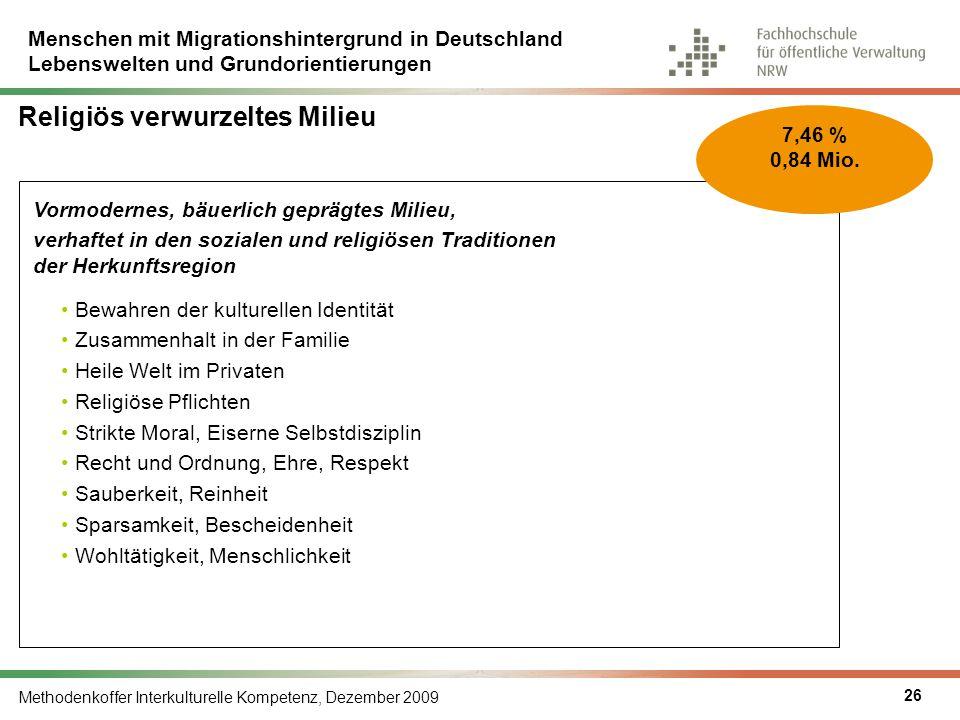 Menschen mit Migrationshintergrund in Deutschland Lebenswelten und Grundorientierungen Methodenkoffer Interkulturelle Kompetenz, Dezember 2009 26 Vorm