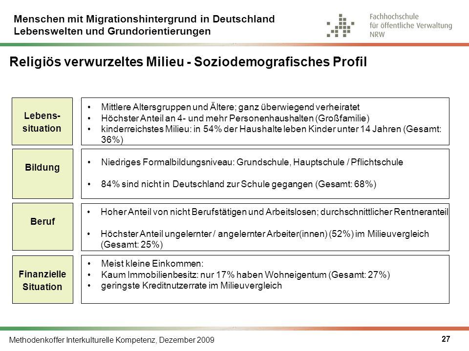 Menschen mit Migrationshintergrund in Deutschland Lebenswelten und Grundorientierungen Methodenkoffer Interkulturelle Kompetenz, Dezember 2009 27 Reli