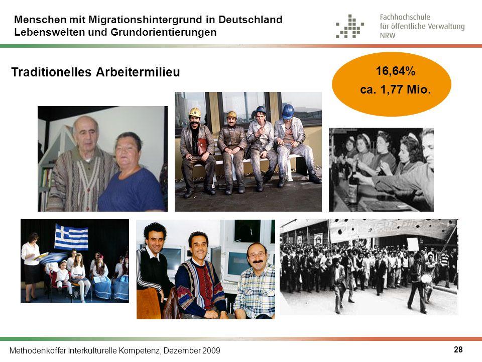 Menschen mit Migrationshintergrund in Deutschland Lebenswelten und Grundorientierungen Methodenkoffer Interkulturelle Kompetenz, Dezember 2009 28 Trad
