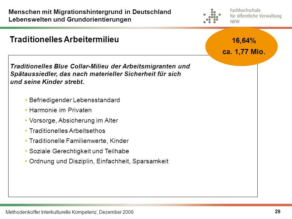 Menschen mit Migrationshintergrund in Deutschland Lebenswelten und Grundorientierungen Methodenkoffer Interkulturelle Kompetenz, Dezember 2009 29 Trad