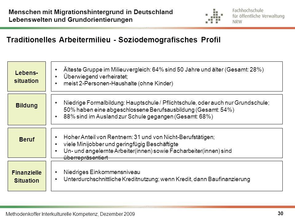 Menschen mit Migrationshintergrund in Deutschland Lebenswelten und Grundorientierungen Methodenkoffer Interkulturelle Kompetenz, Dezember 2009 30 Trad