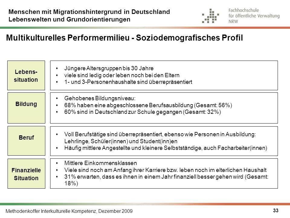 Menschen mit Migrationshintergrund in Deutschland Lebenswelten und Grundorientierungen Methodenkoffer Interkulturelle Kompetenz, Dezember 2009 33 Mult