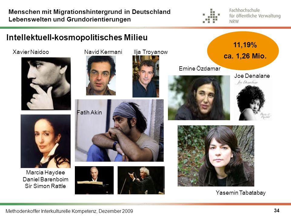 Menschen mit Migrationshintergrund in Deutschland Lebenswelten und Grundorientierungen Methodenkoffer Interkulturelle Kompetenz, Dezember 2009 34 Inte