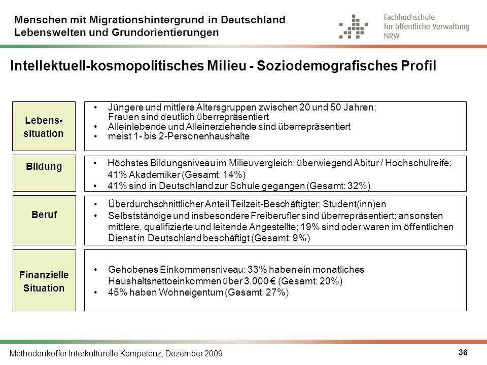 Menschen mit Migrationshintergrund in Deutschland Lebenswelten und Grundorientierungen Methodenkoffer Interkulturelle Kompetenz, Dezember 2009 36 Inte