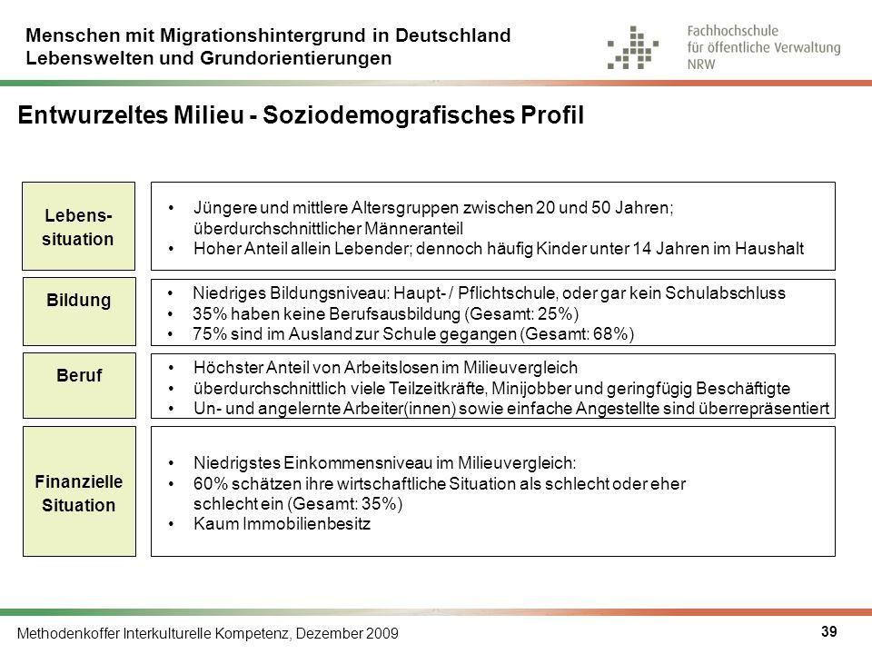 Menschen mit Migrationshintergrund in Deutschland Lebenswelten und Grundorientierungen Methodenkoffer Interkulturelle Kompetenz, Dezember 2009 39 Entw