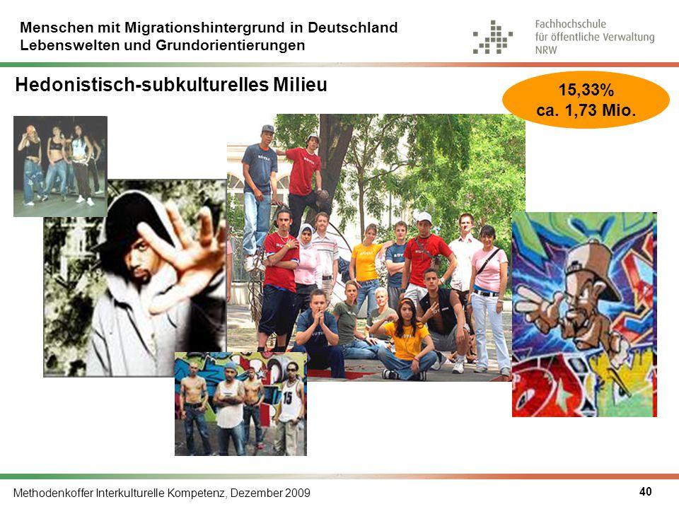 Menschen mit Migrationshintergrund in Deutschland Lebenswelten und Grundorientierungen Methodenkoffer Interkulturelle Kompetenz, Dezember 2009 40 Hedo