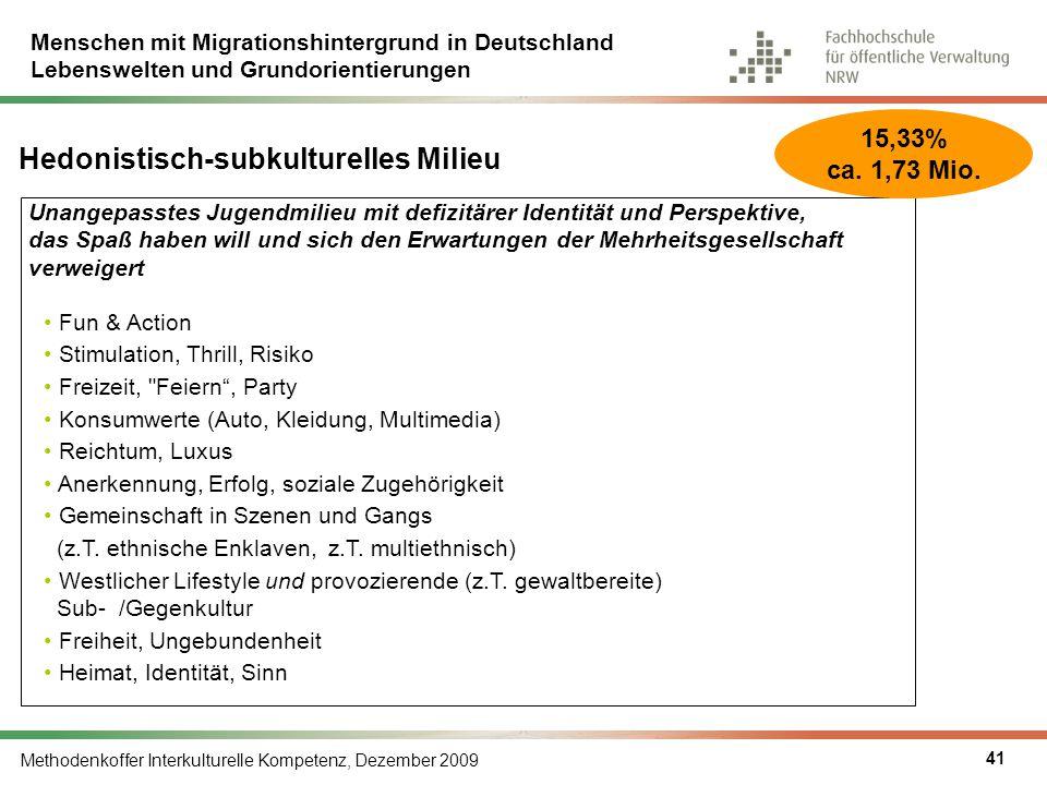 Menschen mit Migrationshintergrund in Deutschland Lebenswelten und Grundorientierungen Methodenkoffer Interkulturelle Kompetenz, Dezember 2009 41 Unan