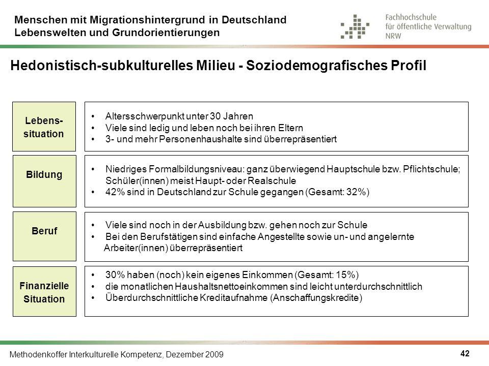 Menschen mit Migrationshintergrund in Deutschland Lebenswelten und Grundorientierungen Methodenkoffer Interkulturelle Kompetenz, Dezember 2009 42 Hedo