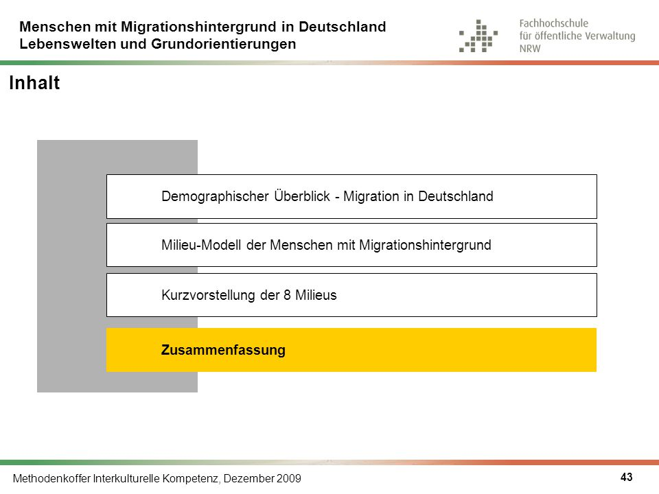 Menschen mit Migrationshintergrund in Deutschland Lebenswelten und Grundorientierungen Methodenkoffer Interkulturelle Kompetenz, Dezember 2009 43 Inha