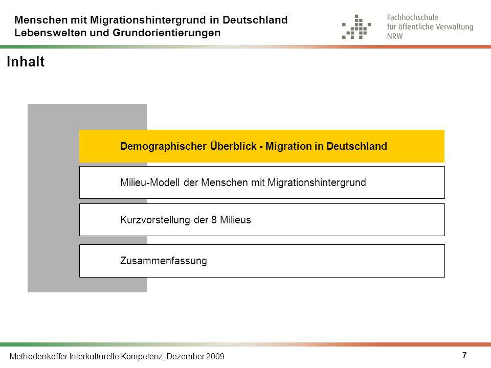 Menschen mit Migrationshintergrund in Deutschland Lebenswelten und Grundorientierungen Methodenkoffer Interkulturelle Kompetenz, Dezember 2009 18 Inhalt Milieu-Modell der Menschen mit Migrationshintergrund Kurzvorstellung der 8 Milieus Demographischer Überblick - Migration in Deutschland Zusammenfassung