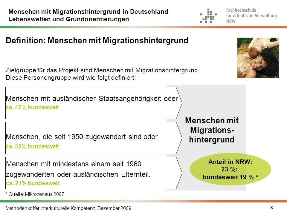 Menschen mit Migrationshintergrund in Deutschland Lebenswelten und Grundorientierungen Methodenkoffer Interkulturelle Kompetenz, Dezember 2009 9 Migranten in Deutschland 81,3 % 18,7 % Quelle: Statistisches Bundesamt, Ergebnisse des Mikrozensus 2007