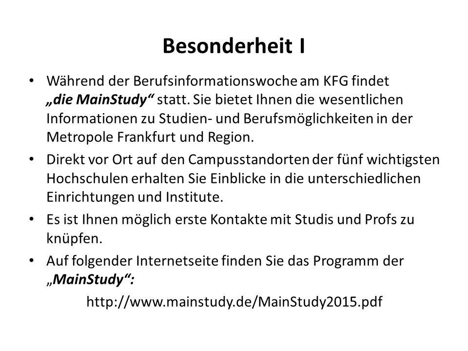"""Besonderheit I Während der Berufsinformationswoche am KFG findet """"die MainStudy"""" statt. Sie bietet Ihnen die wesentlichen Informationen zu Studien- un"""