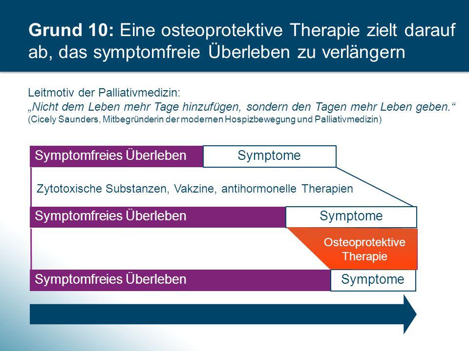 Grund 10: Eine osteoprotektive Therapie zielt darauf ab, das symptomfreie Überleben zu verlängern Gesamtüberleben Symptomfreies Überleben Symptome Zyt