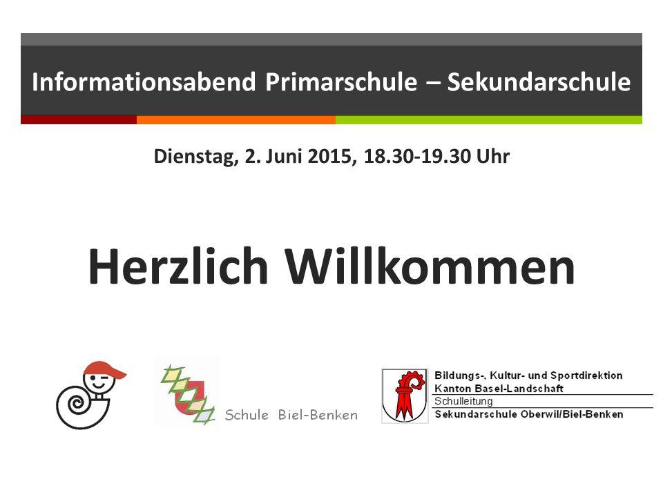 Informationsabend Primarschule – Sekundarschule Dienstag, 2.