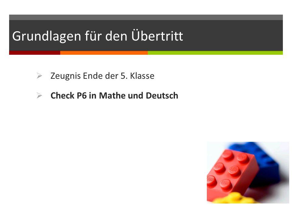 Grundlagen für den Übertritt  Zeugnis Ende der 5. Klasse  Check P6 in Mathe und Deutsch