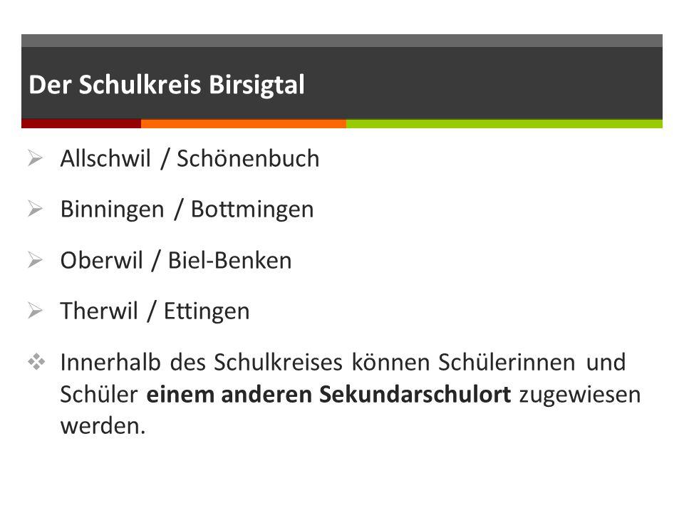 Der Schulkreis Birsigtal  Allschwil / Schönenbuch  Binningen / Bottmingen  Oberwil / Biel-Benken  Therwil / Ettingen  Innerhalb des Schulkreises können Schülerinnen und Schüler einem anderen Sekundarschulort zugewiesen werden.