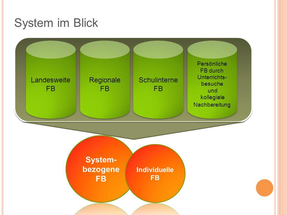 System im Blick Regionale FB Landesweite FB Schulinterne FB Persönliche FB durch Unterrichts- besuche und kollegiale Nachbereitung