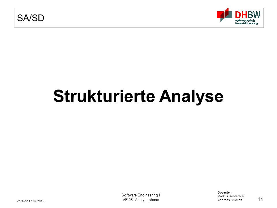 14 Dozenten: Markus Rentschler Andreas Stuckert Version 17.07.2015 Software Engineering I VE 08: Analysephase SA/SD Strukturierte Analyse