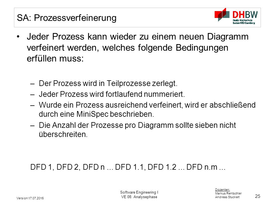 25 Dozenten: Markus Rentschler Andreas Stuckert Version 17.07.2015 Software Engineering I VE 08: Analysephase SA: Prozessverfeinerung Jeder Prozess ka