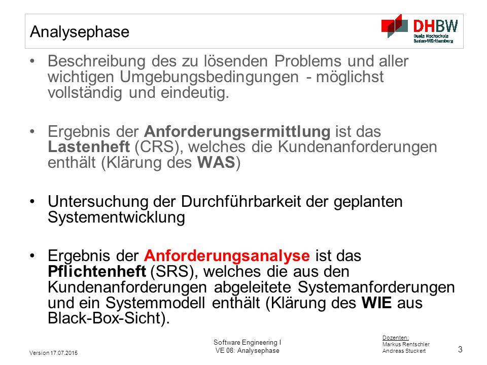 3 Dozenten: Markus Rentschler Andreas Stuckert Version 17.07.2015 Software Engineering I VE 08: Analysephase Analysephase Beschreibung des zu lösenden