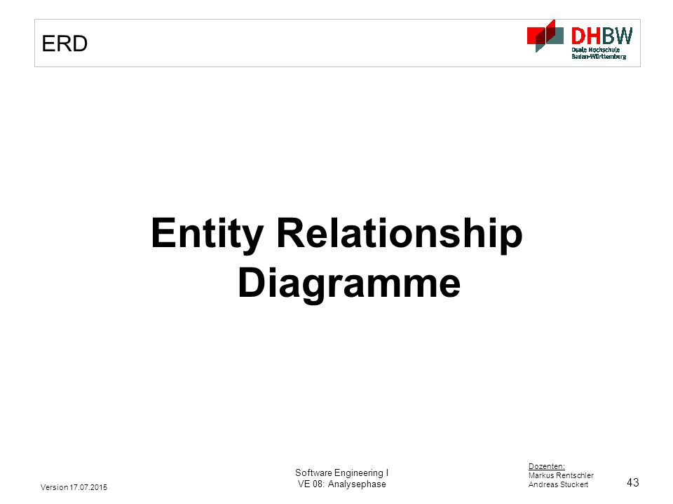 43 Dozenten: Markus Rentschler Andreas Stuckert Version 17.07.2015 Software Engineering I VE 08: Analysephase ERD Entity Relationship Diagramme