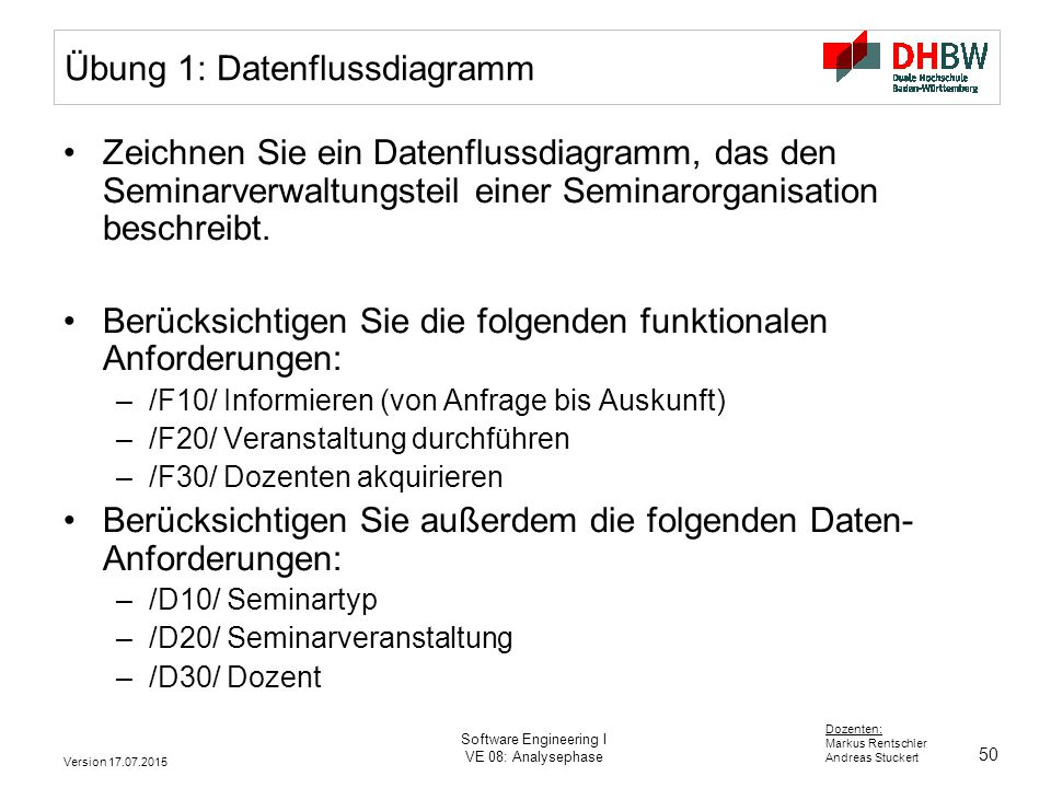 50 Dozenten: Markus Rentschler Andreas Stuckert Version 17.07.2015 Software Engineering I VE 08: Analysephase Übung 1: Datenflussdiagramm Zeichnen Sie