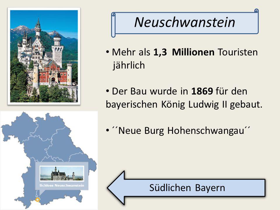 Mehr als 1,3 Millionen Touristen jährlich Der Bau wurde in 1869 für den bayerischen König Ludwig II gebaut. ´´Neue Burg Hohenschwangau´´ Südlichen Bay