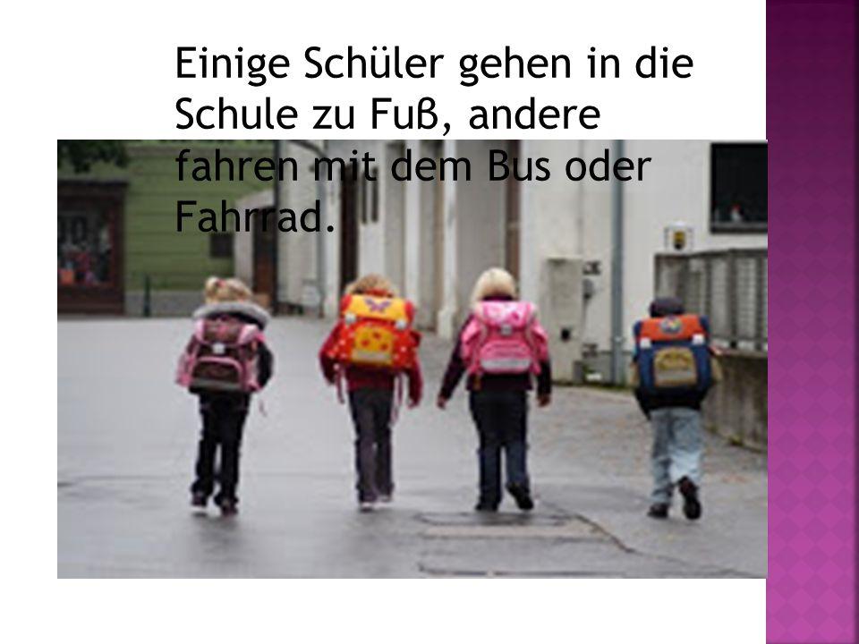 Einige Schüler gehen in die Schule zu Fuβ, andere fahren mit dem Bus oder Fahrrad.