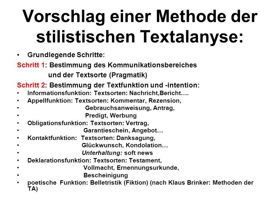 Vorschlag einer Methode der stilistischen Textalanyse: Grundlegende Schritte: Schritt 1: Bestimmung des Kommunikationsbereiches und der Textsorte (Pra