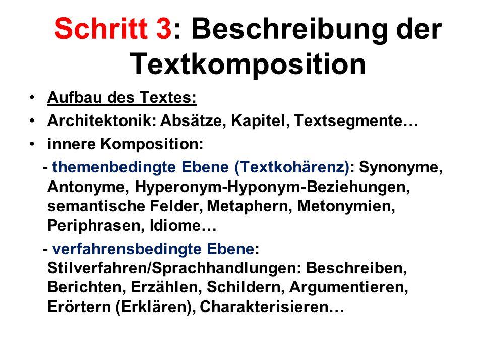 Schritt 3: Beschreibung der Textkomposition Aufbau des Textes: Architektonik: Absätze, Kapitel, Textsegmente… innere Komposition: - themenbedingte Ebe